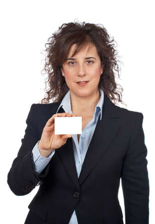 Business woman holding one blank card over a white background Stock Photo - 707897