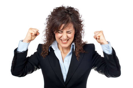Angered businesswoman over a white background Stock Photo - 707898