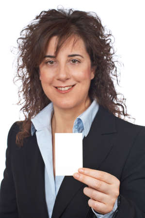 Business woman holding one blank card over a white background. Focus on card Stock Photo - 714531