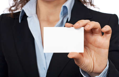 Business woman holding one blank card over a white background