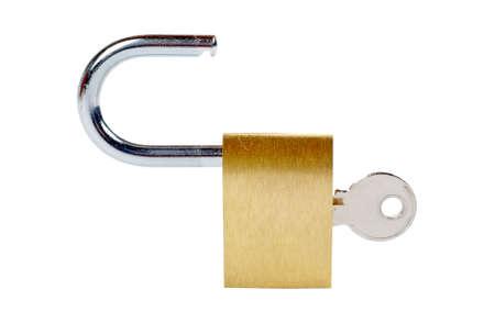 unlocked: Macro of a unlocked padlock with the key on it Stock Photo