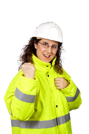 female construction worker: Expressive female construction worker over a white background
