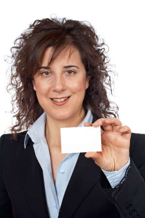 Business woman holding one blank card over a white background. Focus on the card. Stock Photo - 734765