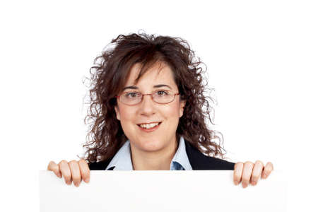 Smiling business woman behind the blank banner Stock Photo - 739184