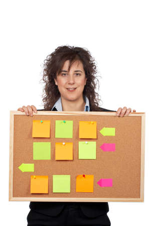 Business woman holding the corkboard on white background photo