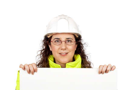 Female construction worker behind the blank banner photo