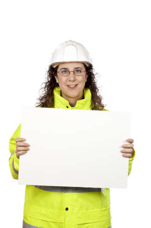 Female construction worker showing a blank banner, over a white background photo