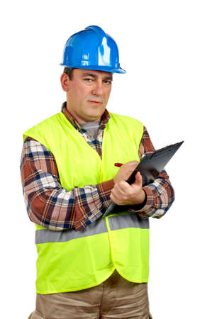 Construction worker with green safety vest writing, over a white background photo