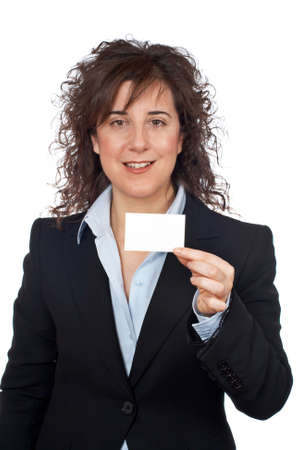 Business woman holding one blank card over a white background Stock Photo - 755332