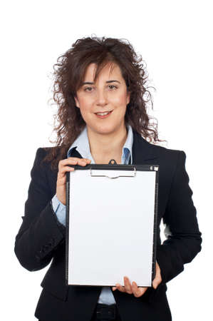 Business woman showing a notebook, over a white background photo