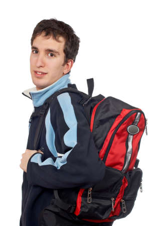 Teen student with a black backpack on white background Banco de Imagens