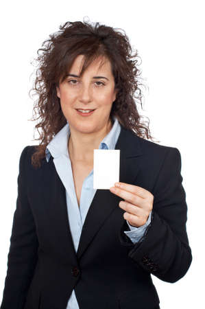 Business woman holding one blank card over a white background Stock Photo - 762451