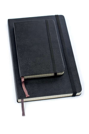 Two blacks notebooks with soft shadow on white background Stock Photo - 781324
