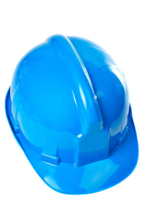 Plastic blue hard hat on white background Stock Photo - 795971