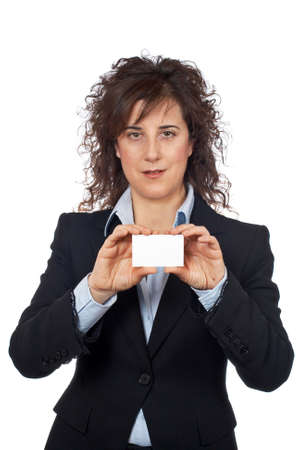 Business woman holding one blank card over a white background Stock Photo - 808978