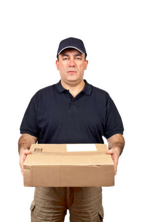 A courier delivering a package on white background Stock Photo - 815909