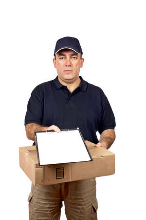 Courier delivering a package and holding a clipboard for a signature Stock Photo - 815910