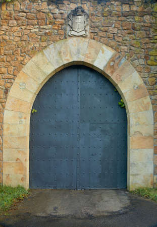 Antique castle door with old stone shield photo