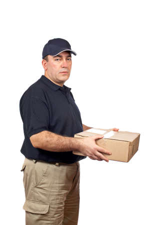 A courier delivering a package on white background Stock Photo