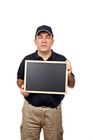 A courier holding the empty chalkboard on white background photo