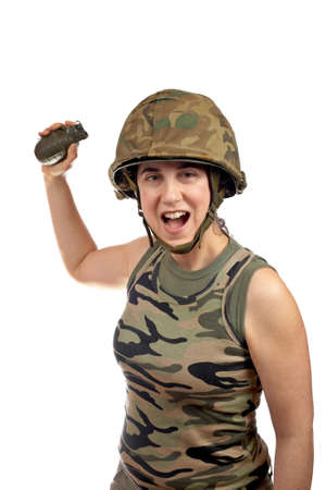 A beautiful soldier girl holding a hand grenade on white background Stock Photo - 822399