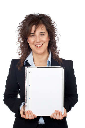 Business woman showing a blank sheet, over a white background photo