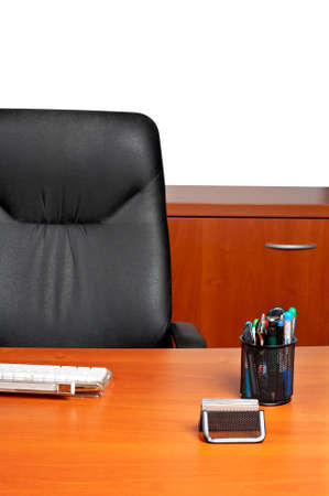 Environment of modern corporate office with leather chair photo