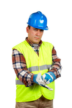 Construction worker with gloves and green vest Stock Photo - 828936