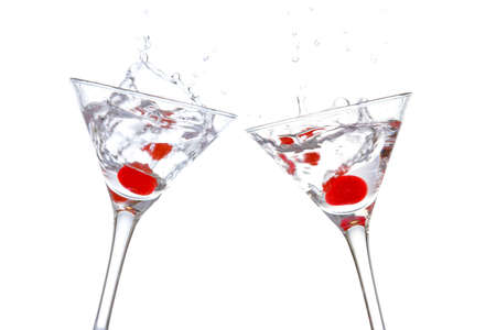 Toast with two cocktail glasses on white background Banco de Imagens