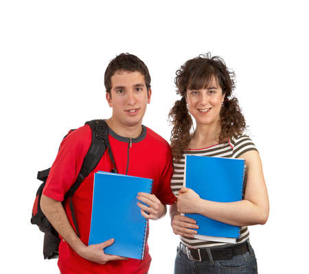 Two students with books and backpacks over a white background photo