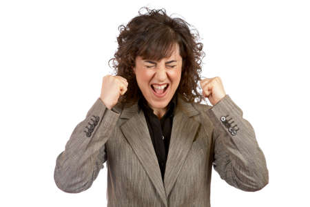 Angered businesswoman over a white background Stock Photo - 856721