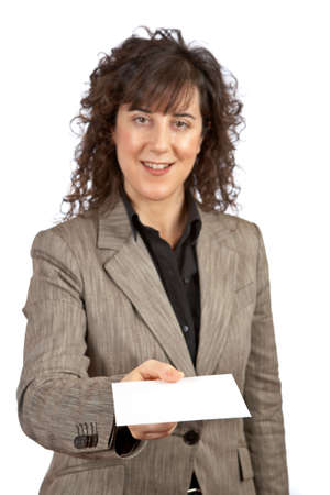 Business woman handing a blank card over a white background. Selective focus on card Stock Photo - 856723
