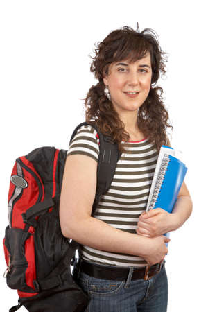 Young student woman with a black backpack on white background photo