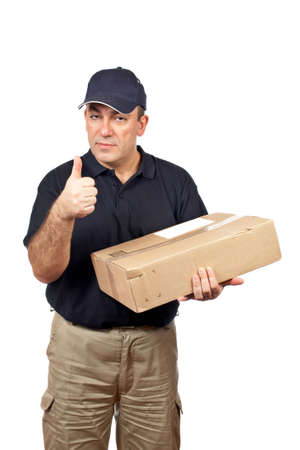 A courier holding a package and success gesture