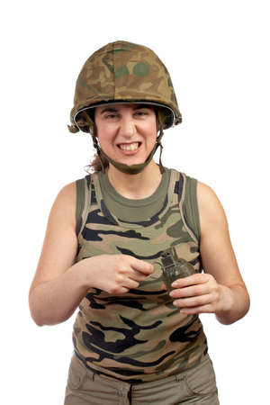 A beautiful soldier girl holding a hand grenade on white background Stock Photo - 877937