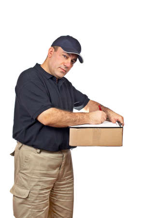 A courier holding the box, writing on white background photo