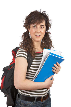 Young student woman with a black backpack on white background Stock Photo - 944329