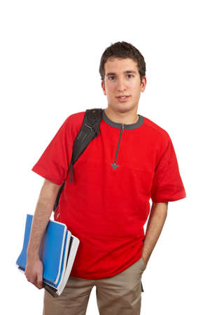 studious: Teen student with a black backpack on white background Stock Photo