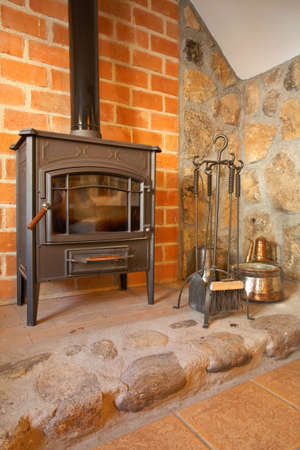 View of a cozy old fireplace in the living room Stock Photo - 1007008