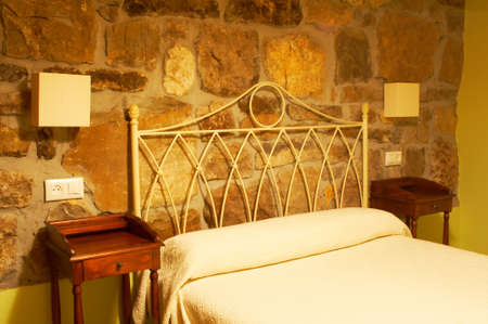A beautiful bed of a small hotel in winter season Stock Photo - 1078978