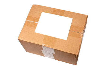 Cardboard box with blank label isolated on white background Stock Photo - 1125398