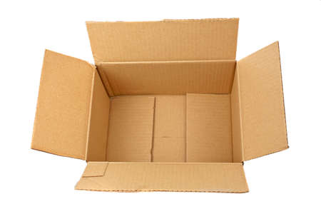 An open cardboard box isolated on white background Stock Photo - 1125399