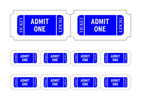 Admit one tickets. Easy to edit colors and numbers. Vector Illustration illustration