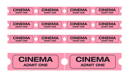 admit one: Cinema admit one tickets. Easy to edit colors. Vector Illustration