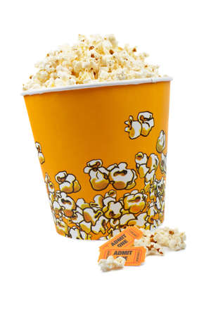 edibles: Popcorn bucket with two tickets on white background