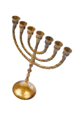 shalom: A Hanukkah Menorah isolated on white background
