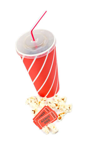 edibles: Popcorn, two tickets and soda on white background Stock Photo
