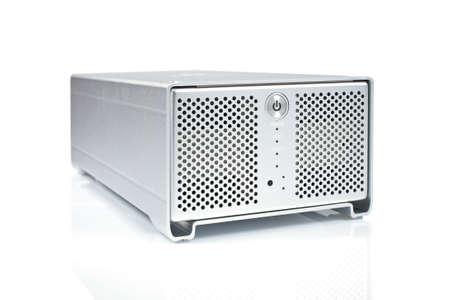 gigabytes: External hard drive reflected on white background