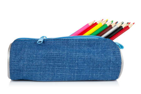 pencil case: A blue pencil case reflected on white background