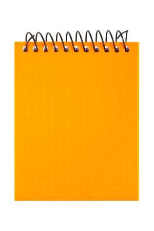 scratchpad: Orange notebook isolated on white background.